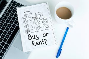 Buying or renting decision concept, with buildings sketch, for real estates, investments, savings, property and mortgage concepts, or for other uses.