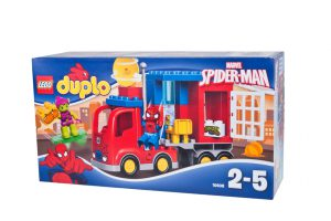 Adelaide, Australia - December 25, 2015: A studio shot of a Lego Duplo 10608 Spiderman Spider Truck Adventure Kit from the popular Lego Duplo series. Lego is extremely popular worldwide with children and collectors.